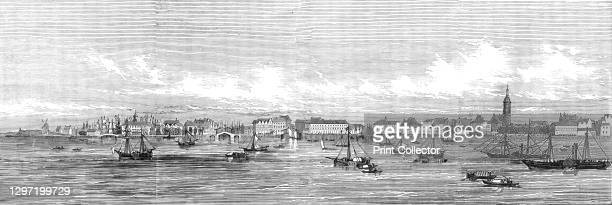 Panorama of the City of Antwerp, and its environs - arrival of Her Majesty, 1845. Queen Victoria arrives for a royal visit to Belgium. From...
