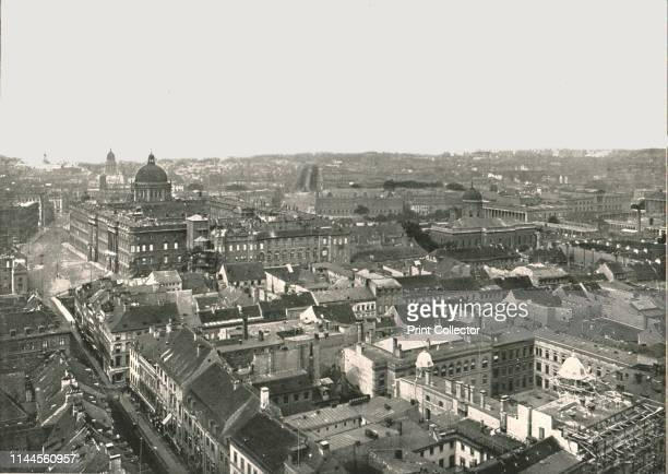 """Panorama of the city of Berlin, Germany, 1895. View showing the Berlin Palace on the left. From """"Round the World in Pictures and Photographs: From..."""