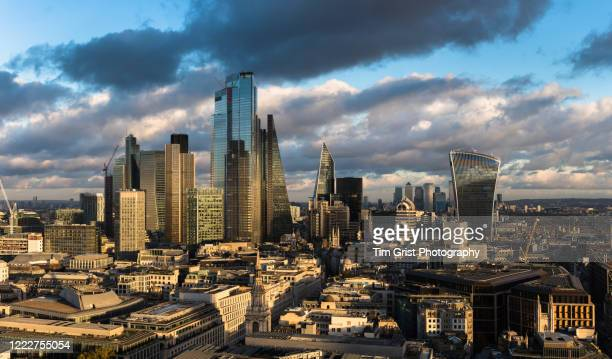 panorama of the city of london - panoramic stock pictures, royalty-free photos & images