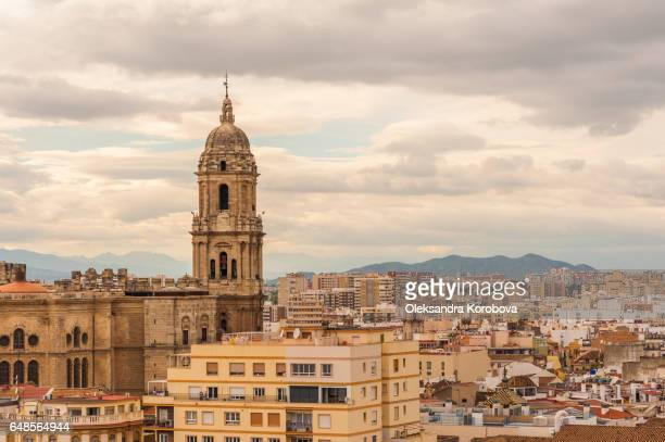 panorama of the city of malaga, spain from the walls and towers of an ancient medieval alcazaba fortress. - istock photo stock pictures, royalty-free photos & images