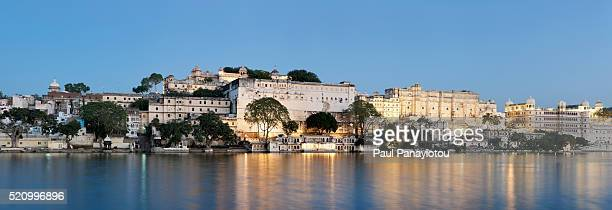 Panorama of the City Palace complex and Lake Pichola, Udaipur, India