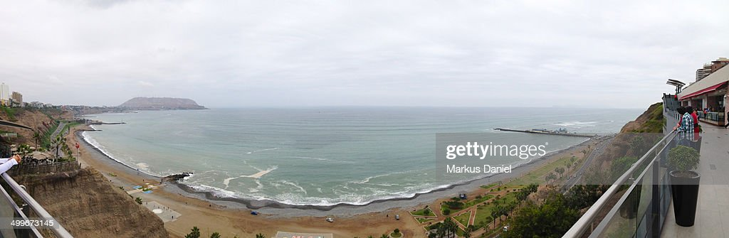 Panorama of the Coast in Lima, Peru from Miraflore : Stock Photo
