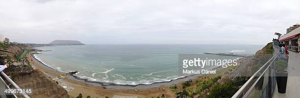 Panorama of the Coast in Lima, Peru from Miraflore