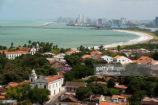 Panorama of the colonial city of Olinda with Recife on the background northeastern Brazil on September 09 2012 AFP PHOTO/ANTONIO SCORZA
