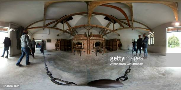 Panorama of The Crematorium building at Dachau Concentration Camp on April 14 2017 in Dachau Germany Dachau was the first Nazi concentration camp and...