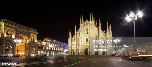 Panorama of the Duomo at Night in Milan, Italy