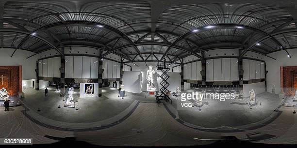 """Panorama of the exhibition """"The Divine Michelangelo"""" at Shanghai Modern Art Museum on December 25, 2016 in Shanghai, China. Shanghai Modern Art..."""