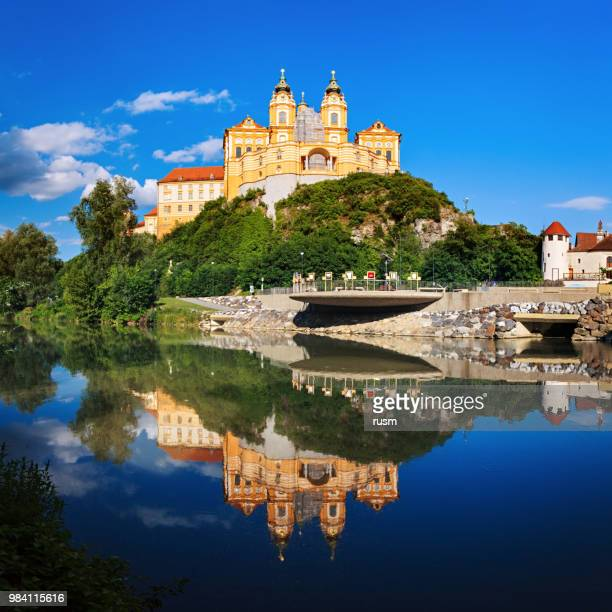 Panorama of the famous St. Peter and Paul Church in Melk Benedictine Abbey, Wachau Valley, Lower Austria