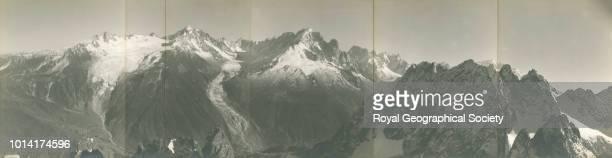 Panorama of the French Alps Chardonnet Aig Verte Dru Jorasses Hip du Géant Mont Blanc and Aig De la Remonaz from the summit of the Aig de Mesure...