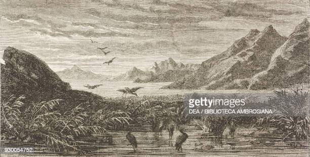 Panorama of the Great Salt Lake and Utah Lake United States of America drawing by FrancoisFortune Ferogio from a sketch by Stansbury from The City of...