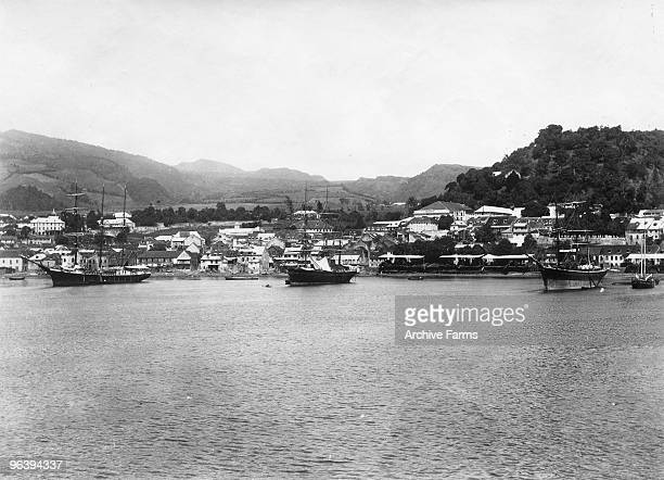 A panorama of the harbor at the foot of Mount Pelee in 1890 at St Pierre Martinique