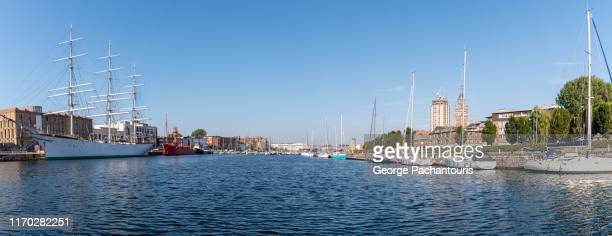panorama of the harbor of dunkirk in france - dunkirk evacuation stock pictures, royalty-free photos & images