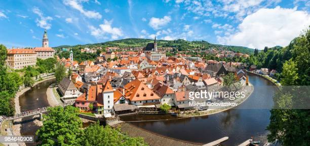 panorama of the historical part of cesky krumlov with castle and - cesky krumlov castle stock photos and pictures