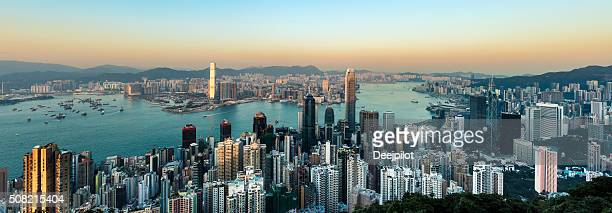 Panorama of the Hong Kong City Skyline and Harbour, China.