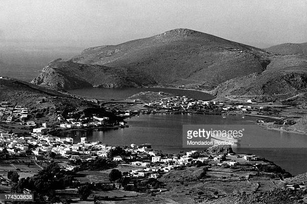 A panorama of the island of Patmos in the Dodecaneso where according to tradition Saint John the Evangelist may have written the Apocalypse Pamos 1966