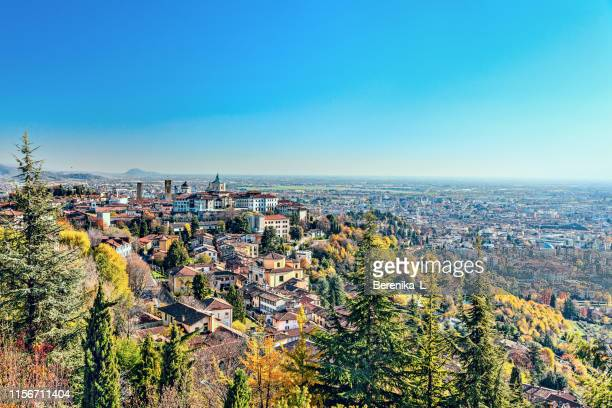 panorama of the italian city bergamo. top view. - lombardy stock pictures, royalty-free photos & images