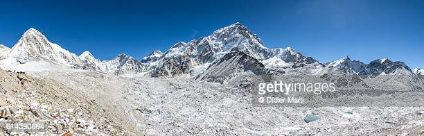 Panorama of the Khumbu glacier with Mount Nuptse in Nepal