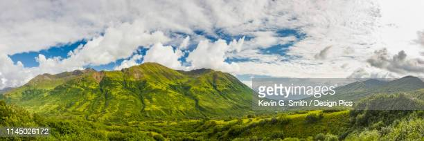 panorama of the little susitna valley, palmer in the background, bright clouds in the sky, hatcher pass, south-central alaska - mt. susitna stock pictures, royalty-free photos & images