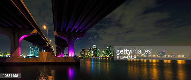 panorama of the macarthur causeway in miami - parallel stock photos and pictures