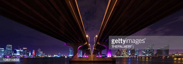 Panorama of the MacArthur Causeway in Miami