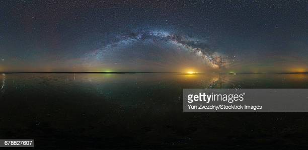 360 panorama of the Milky Way with reflection of stars over Lake Elton salt lake in Russia.