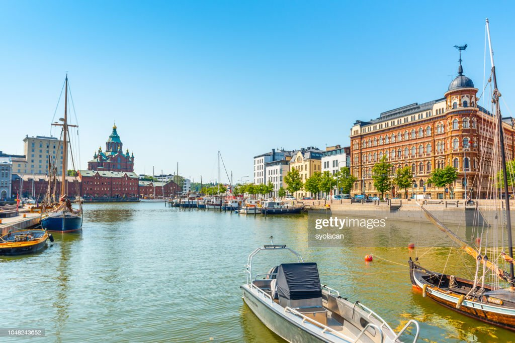 Panorama of the old port pier, Helsinki : Stock Photo