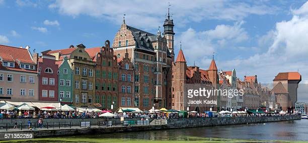 panorama of the old town in gdansk - motlawa river stock pictures, royalty-free photos & images