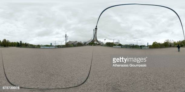 Panorama of The Olympic Park Munich or Olympiapark Muenchen on April 15 2017 in Munich Germany The Olympic Park Munich is an Olympic Park which was...