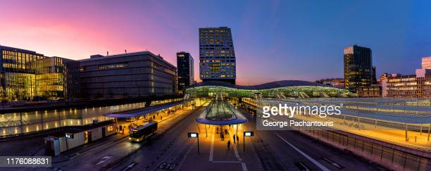 panorama of the railway station in utrecht, the netherlands - utrecht stock pictures, royalty-free photos & images