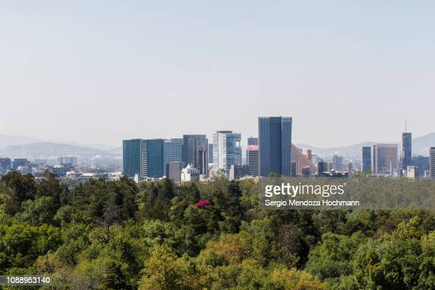 panorama of the reforma and polanco section of mexico city, mexico with chapultepec park in the foreground - chapultepec park stock photos and pictures