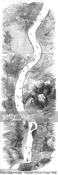 Panorama of the Rhine, 1845. 'Panoramic representation of the main beauties of this majestic river, the artistical coup d'oeil extending from the...