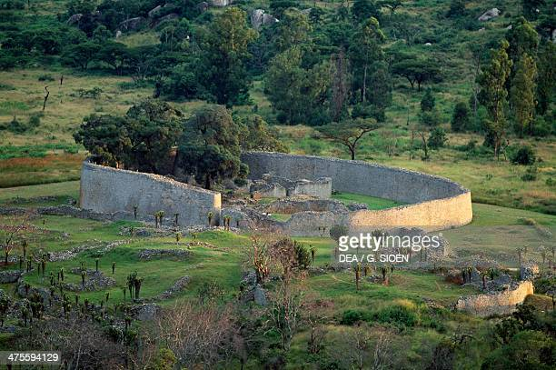 Panorama of the ruins and the large enclosure of Great Zimbabwe Zimbabwe