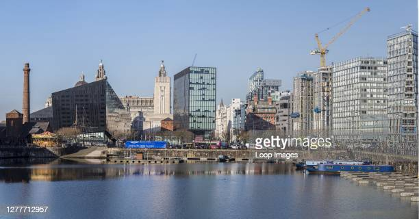 Panorama of the Salthouse Dock facing the skyline of Liverpool.