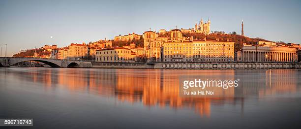Panorama of the Saone river bank in Lyon