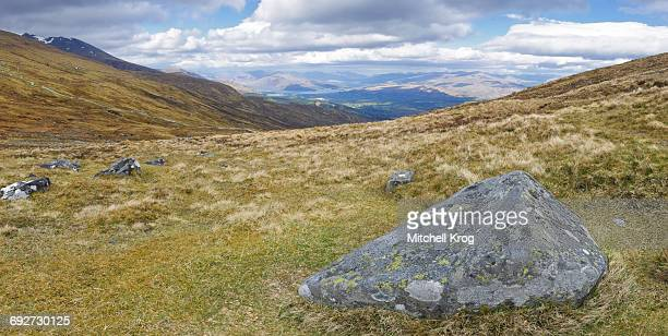Panorama of the Scottish highlands from the top of Aonach Mor or Ben Nevis mountain, Scotland