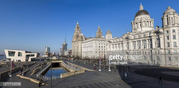 Panorama of the Three Graces on the Liverpool waterfront.