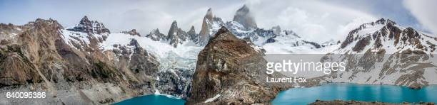A panorama of the valley containing Mt Fitz Roy with surrounding lakes and peaks.