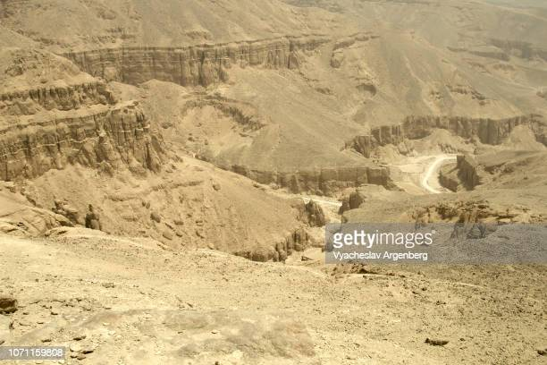 panorama of the valley of the kings and theban hills, view from above, egypt - argenberg stock pictures, royalty-free photos & images
