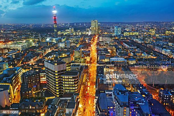 panorama of the west end of london at dusk - west end london stock pictures, royalty-free photos & images