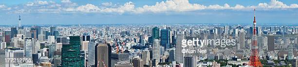 a panorama of tokyo with two towers - nee nee stock pictures, royalty-free photos & images