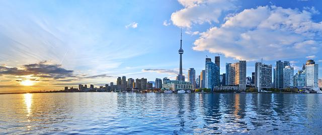 Panorama of Toronto skyline at sunset in Ontario, Canada. 483139588