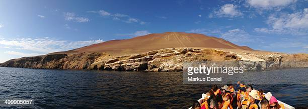 Panorama of Tourists visiting Paracas Candelabro