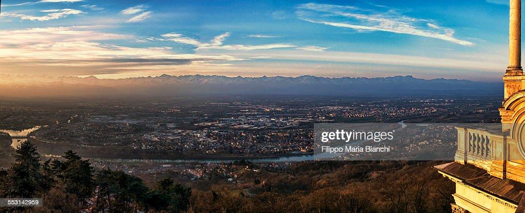 Panorama of Turin at sunset : Stock Photo