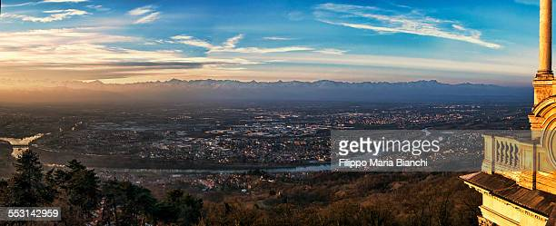 Panorama of Turin at sunset