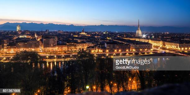 panorama of turin - turin stock pictures, royalty-free photos & images