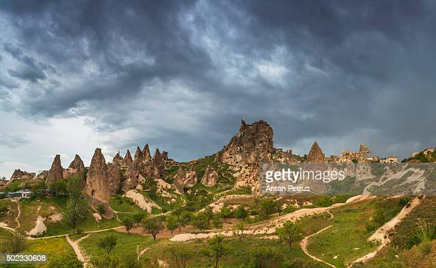 panorama of uchisar during a storm. cappadocia, turkey - anton petrus stock pictures, royalty-free photos & images
