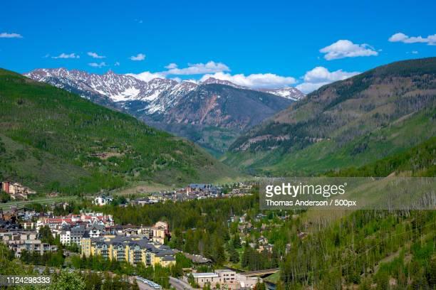 panorama of vail colorado ski resort usa - beaver creek colorado stock pictures, royalty-free photos & images