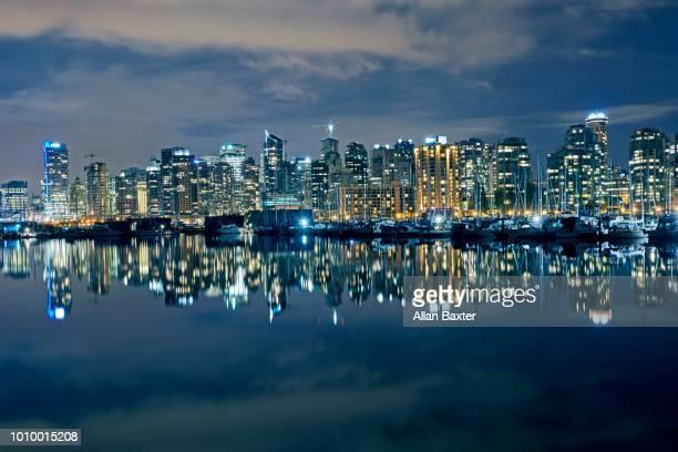 Panorama of vancouver skyline illuminated at night