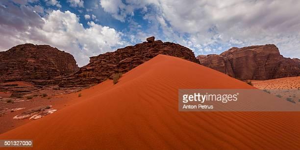 Panorama of Wadi Rum desert at sunruse, Jordan