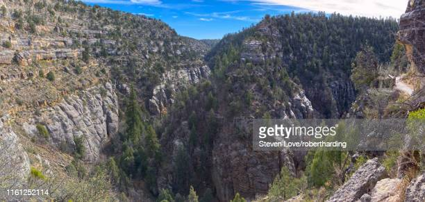 panorama of walnut canyon, once inhabited by the sinagua people, located east of flagstaff, arizona, united states of america, north america - sinagua stock pictures, royalty-free photos & images